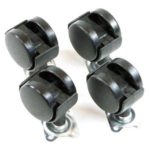 Wielenset 40 mm, 4 delig, zwart, 4 x zwenk, bureau