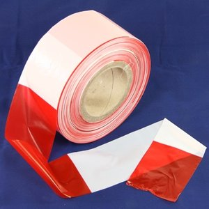 Afzetlint 500 meter op rol, rood/wit