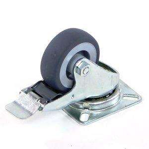 Zwenkwiel 50x18 grijs rubber met rem