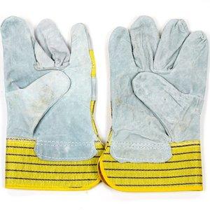 Werkhandschoenen geel/blauw gestreept